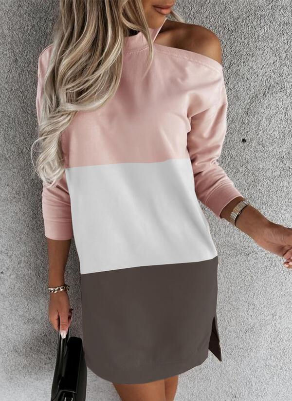 Color Block Long Sleeves Dropped Shoulder Shift Above Knee Casual Sweatshirt Dresses