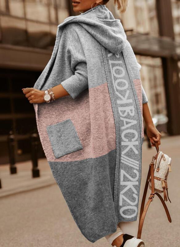 Print Color Block Hooded Casual Cardigan
