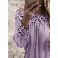 Solid Lace Beaded Off the Shoulder Long Sleeves Elegant Blouses