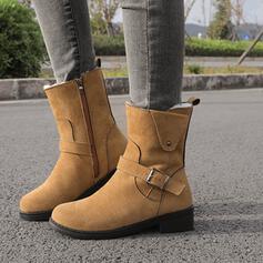 Kvinnor Konstläder Låg Klack Boots rund tå med Zipper Solid färg skor