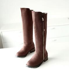Kvinnor PU Tjockt Häl Knäkickkängor rund tå med Zipper Solid färg skor