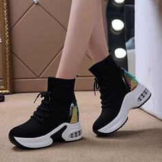Women's Flying Weave Wedge Heel Boots Ankle Boots With Splice Color Breathable Lace shoes