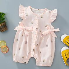 Baby Girl Bowknot Print Cotton Jumpsuit
