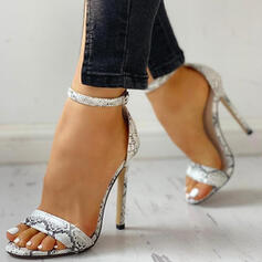 Women's PU Stiletto Heel Pumps Peep Toe With Rhinestone Buckle Hollow-out shoes