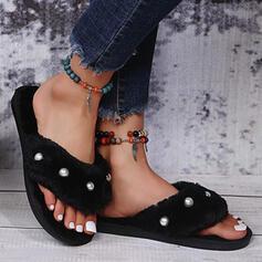 Women's Fake fur Flat Heel Sandals Flats Flip-Flops Slippers With Imitation Pearl Faux-Fur shoes