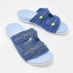 Women's Canvas Flat Heel Sandals Slippers With Velcro shoes