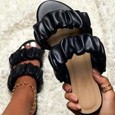 Kvinnor Konstläder Flat Heel Sandaler Peep Toe med Solid färg skor