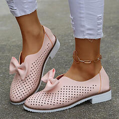 Women's PU Others Round Toe Loafers Slip On With Bowknot Hollow-out shoes