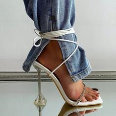 Women's PU Kitten Heel Sandals Pumps Peep Toe With Solid Color shoes