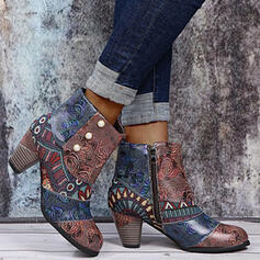 Women's PU Chunky Heel Ankle Boots Low Top Heels Pointed Toe With Imitation Pearl Zipper Floral shoes