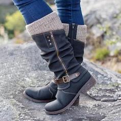 Kvinnor Konstläder Flat Heel Halva Vaden Stövlar rund tå med Zipper Button skor