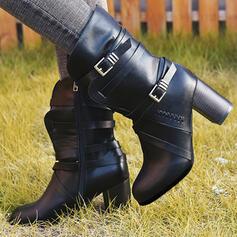 Kvinnor PU Tjockt Häl Pumps Stängt Toe Stövlar Halva Vaden Stövlar med Spänne Zipper skor