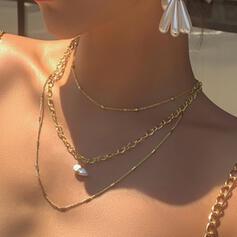 Länk & kedja konstnärligt Legering med Oäkta Pearl Smycken Sets Halsband 3 st