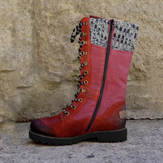 Women's PU Low Heel Mid-Calf Boots Martin Boots Round Toe With Zipper Lace-up Splice Color shoes