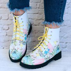 Kvinnor PU Låg Klack Stövlar Boots Spetsad tå med Bandage Blommig skor