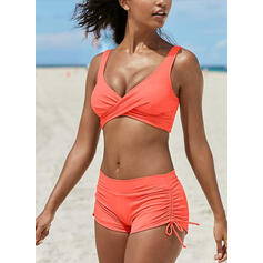 Solid Color String Strap V-Neck Eye-catching Bikinis Swimsuits