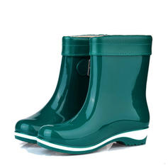 Kvinnor PVC Låg Klack Stängt Toe Stövlar Boots Gummistövlar med Spänne skor