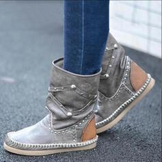 Kvinnor PU Flat Heel Halva Vaden Stövlar rund tå med Nita skor