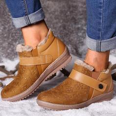 Kvinnor PU Flat Heel Boots Snökängor rund tå med Spänne Fejkpäls Solid färg skor
