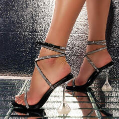 Women's PU Stiletto Heel Sandals Pumps With Rhinestone Buckle shoes