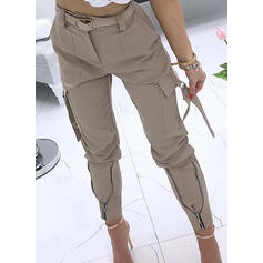 Solid Pockets Shirred Casual Sexy Tribal Pants