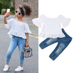 2 stycken småbarn flicka Rufsar Spets Jeans Set