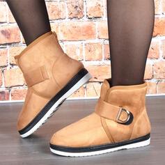 Kvinnor Mocka Flat Heel Snökängor rund tå med Kardborre Solid färg skor