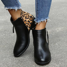Women's PU Chunky Heel Ankle Boots Low Top Pointed Toe With Animal Print Zipper shoes