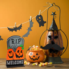 Colourful Gothic Horrifying Wall Mounted Pumpkin Wooden Halloween Props Halloween Decorations (Sold in a single piece)