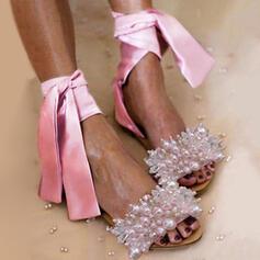 Women's PU Flat Heel Sandals Flats Peep Toe With Imitation Pearl shoes