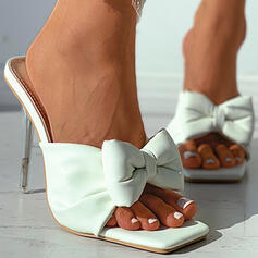 Women's PU Stiletto Heel Pumps Peep Toe With Bowknot Solid Color shoes