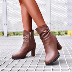 Kvinnor PU Cone Heel Stövlar Boots Hög topp Spetsad tå med rynkad Solid färg skor