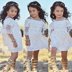 småbarn flicka Rufsar Solid Spets Bomull Klänning