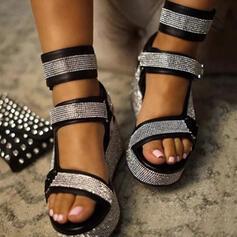 Women's Microfiber Wedge Heel Flat Heel Sandals Flats Wedges Peep Toe With Sequin Velcro Others shoes