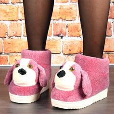 Kvinnor Sammet Flat Heel Snökängor rund tå med Skarvfärg skor