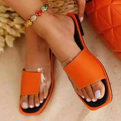 Women's PU Flat Heel Sandals Flats Peep Toe Slippers Square Toe With Solid Color shoes