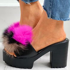 Women's PU Chunky Heel Sandals Peep Toe Slippers With Hollow-out Faux-Fur shoes
