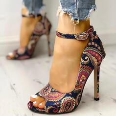 Women's PU Stiletto Heel Pumps Peep Toe With Buckle Crystal Heel shoes