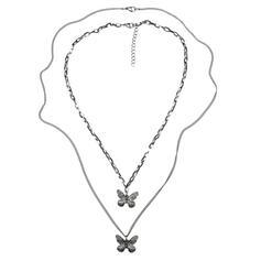 Unik Elegant Titan Stål med Fjäril Kvinnor Män Könsneutrala Halsband 2 st
