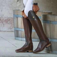 Kvinnor PU Tjockt Häl Knäkickkängor rund tå med Bandage Solid färg skor
