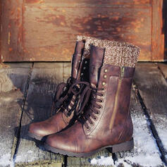 Kvinnor Konstläder Låg Klack Stövlar med Bandage skor