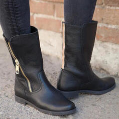 Women's PU Low Heel Boots Mid-Calf Boots Martin Boots Round Toe With Zipper Solid Color shoes