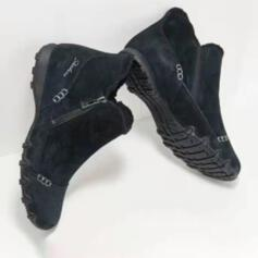 Women's Suede Flat Heel Flats With Zipper shoes