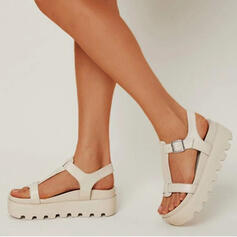 Women's PU Low Heel Sandals Flats Platform Peep Toe Slippers With Buckle Solid Color shoes