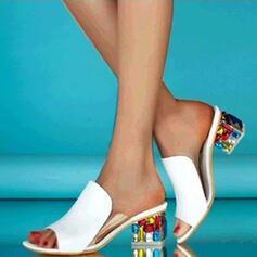 Women's PU Chunky Heel Sandals Pumps Peep Toe Slippers Heels With Others shoes