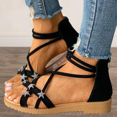 Women's PU Flat Heel Sandals Flats Peep Toe With Zipper Hollow-out shoes