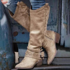 Women's PU Chunky Heel Knee High Boots Pointed Toe With Buckle Zipper Hollow-out Solid Color shoes