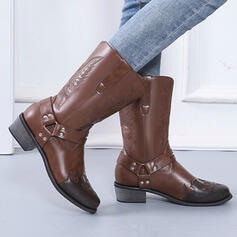 Women's PU Chunky Heel Boots Mid-Calf Boots Pointed Toe With Buckle Embroidery shoes
