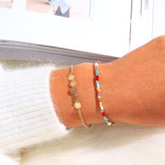 Enkel Bohemisk Skiktad Legering Pärlor Armband 2 st
