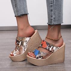 Women's PU Wedge Heel Sandals Wedges Peep Toe With Animal Print shoes